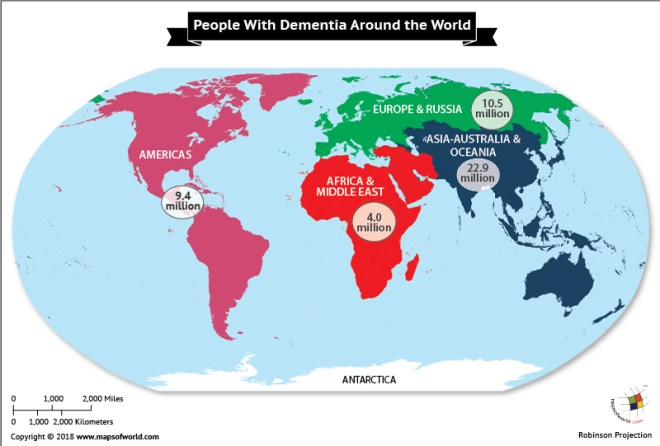 World map depicting Threat of Dementia in different Countries