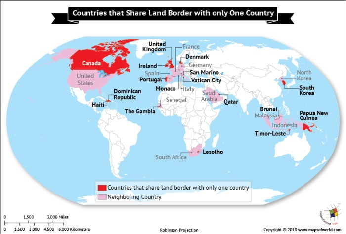 World Map highlighting countries sharing Land Border with One country