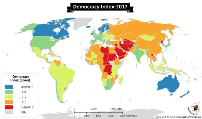 World map depicting the Democracy Score in countries