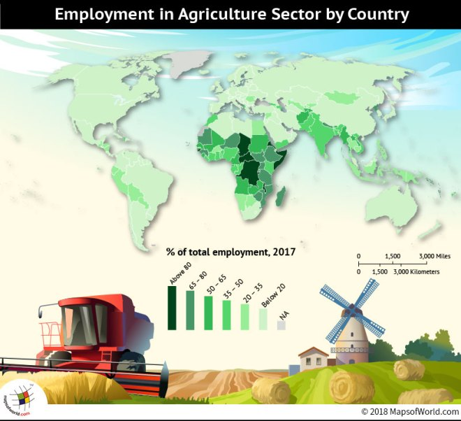 World Map depicting employment in agriculture