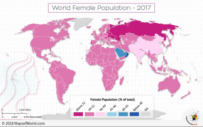 World map depicting global female population
