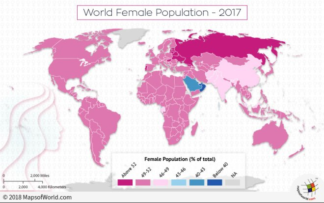 World map depicting global female population