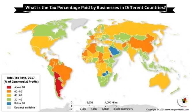 World map depicting global tax rate