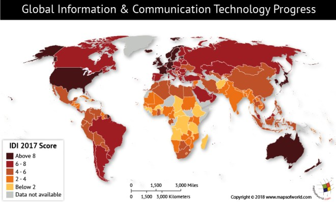 World map depicting Global ICT Development Index