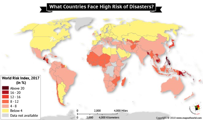 World Map depicting Risk Index 2017