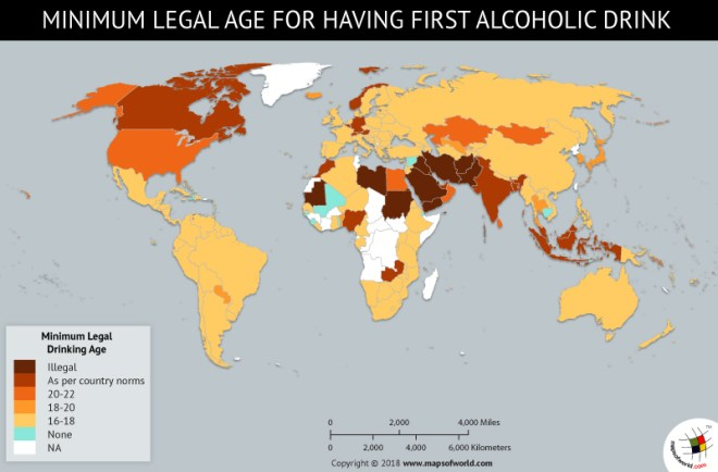 World Map depicting Minimum Legal Age for First Alcoholic Drink in Countries