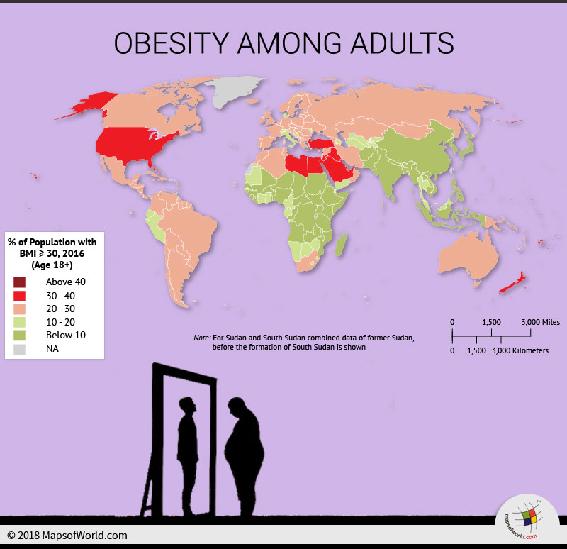 World Map depicting obesity among adults