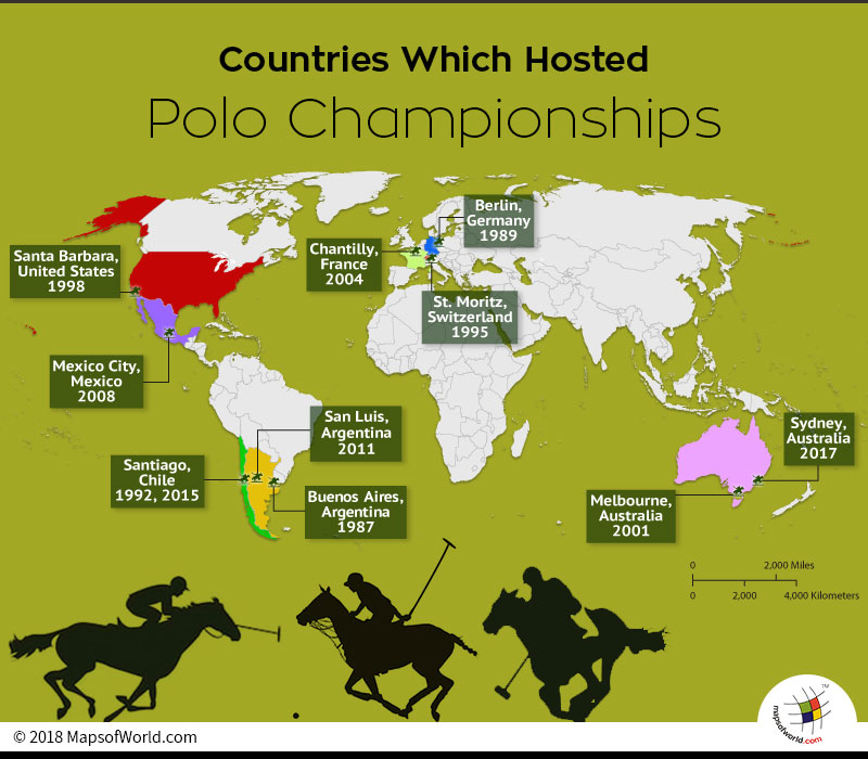 World Map depicting nations that have hosted World Polo Championship