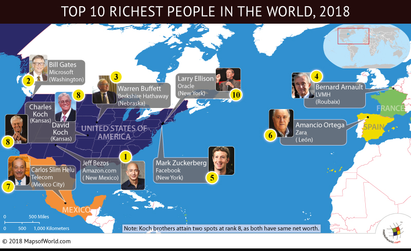 World Map depicting residing cities of Richest men