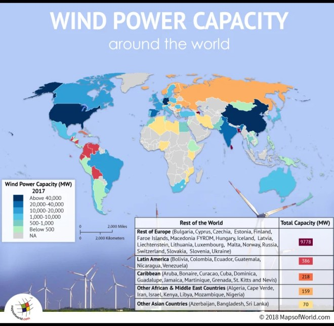World map depicting Wind Power capacity in countries
