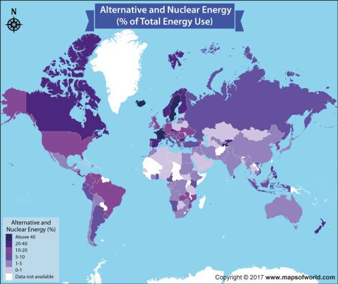 World map showing countries using alternative energy or nuclear energy