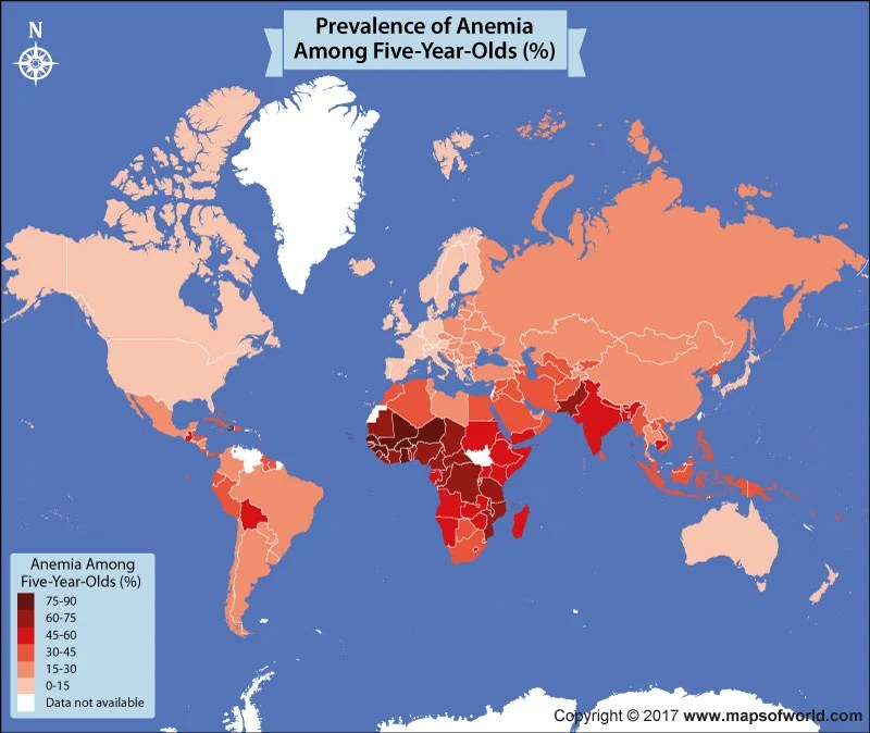 World map showing anemia cases in five years old
