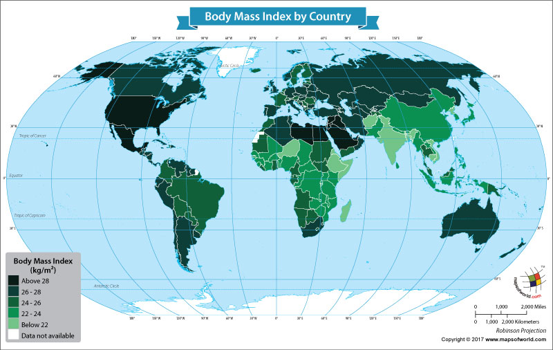 World map showing country's ranks on BMI