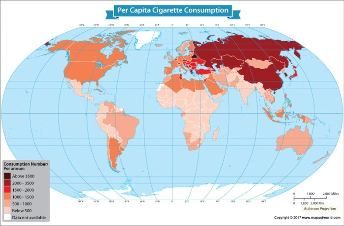 World map showing countries with the highest cigarette consumers