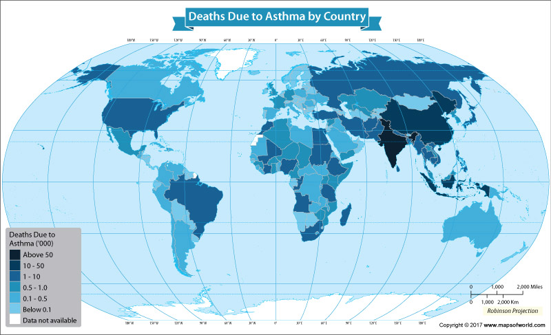 World map showing deaths due to Asthma