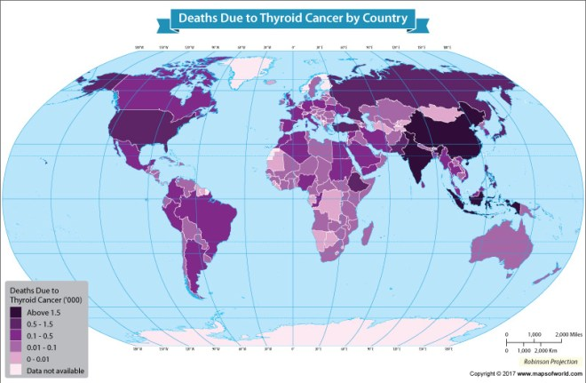 World map showing death rate due to Thyroid Cancer