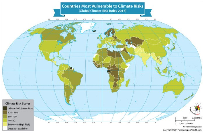 World map showing countries with adverse weather conditions