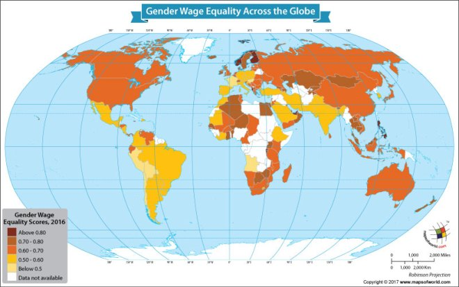 World map showing gender equality in wages