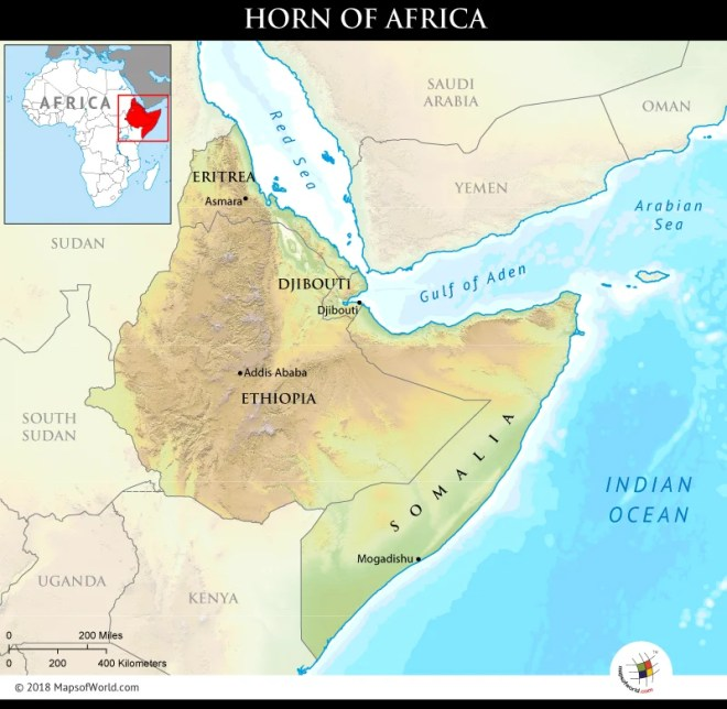 Map showing the region of Horn of Africa