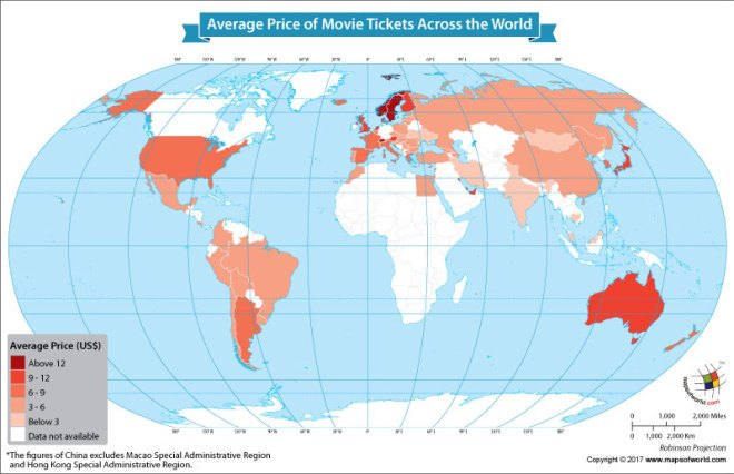 World map showing the prices of movie tickets around the world