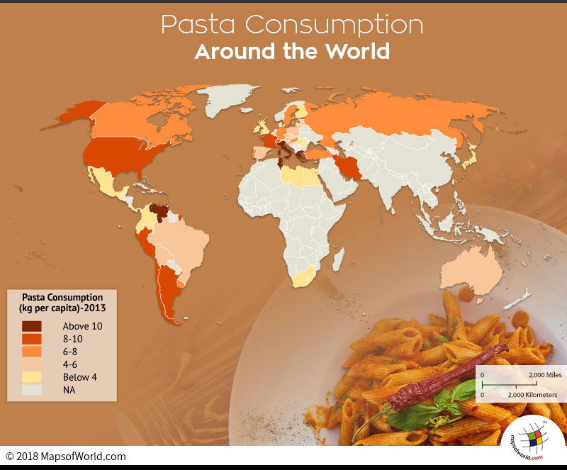 World map showing highest pasta consuming nations