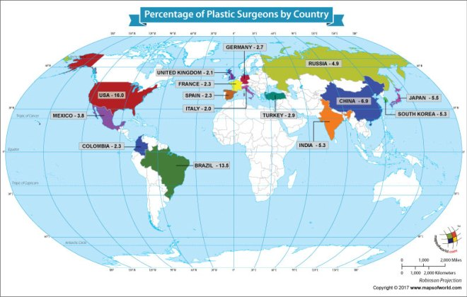 World map showing the percentage of plastic surgeons
