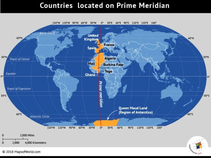 World map showing the Greenwich Meridian