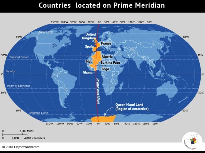 What countries lie on the Prime Meridian?
