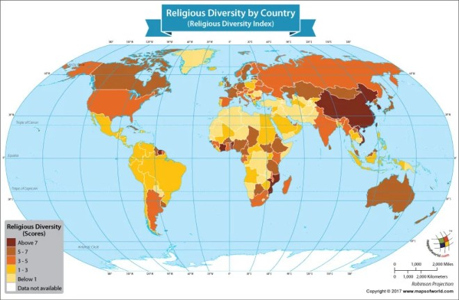 World map showing the religious diversity scores of the nations