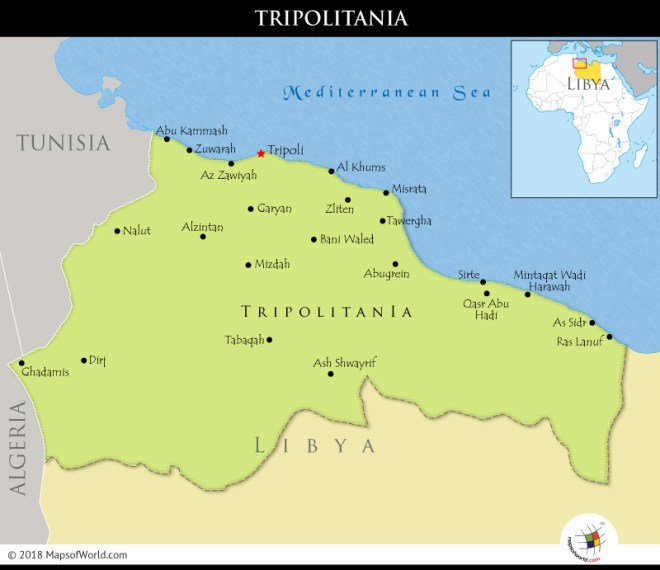 Map showing the historic region of Tripolitania