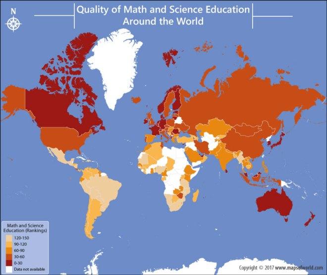 World map depicting World Education Rankings