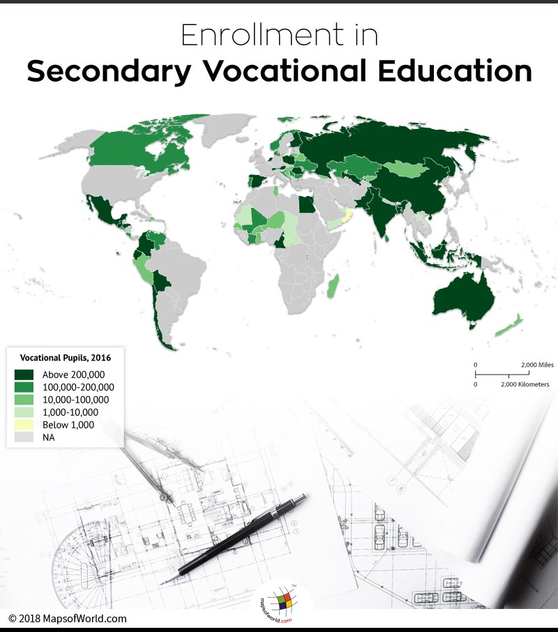 Map depicting Enrollment in Secondary Vocational Education in countries