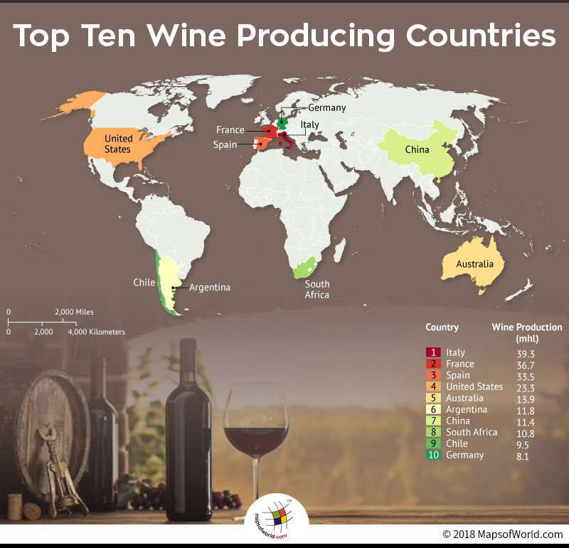 World Map depicting top ten wine producing countries