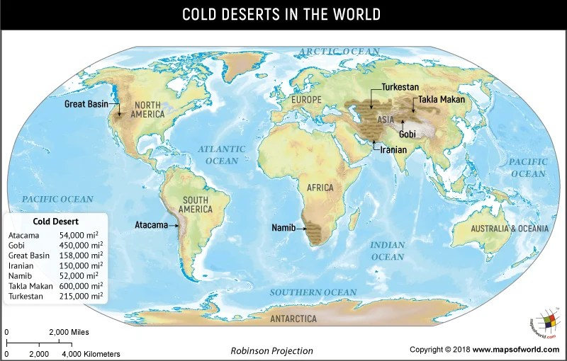 World map depicting Cold Deserts of the world
