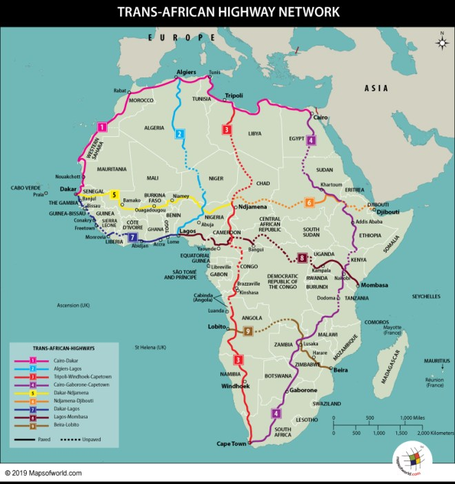 Map Showing Trans-African Highway Network