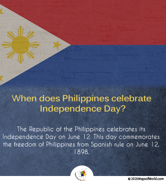 The Republic of the Philippines celebrates its Independence Day on June 12
