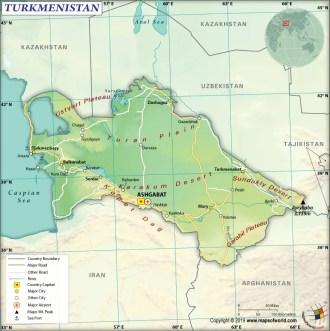 Map of Republic of Turkmenistan