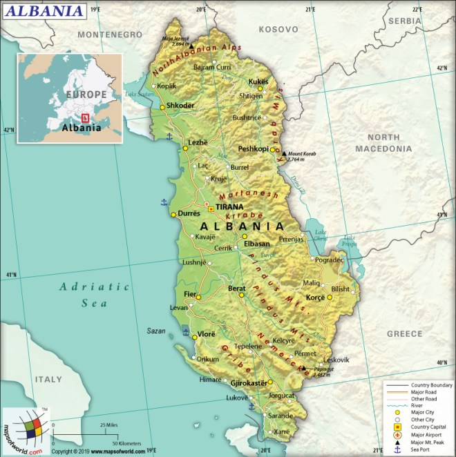 Map of Republic of Albania