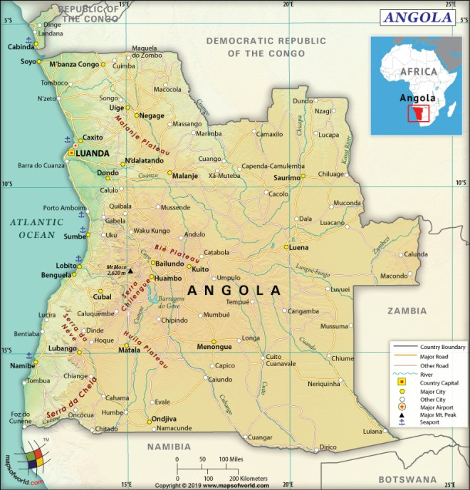 Map of Republic of Angola
