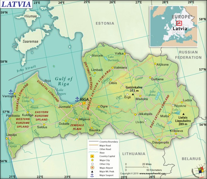 Map of Republic of Latvia
