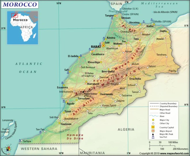 Map of Kingdom of Morocco