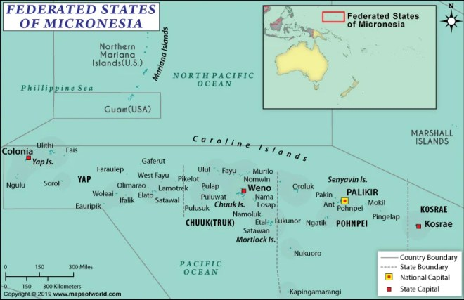 Map of the Federated States of Micronesia