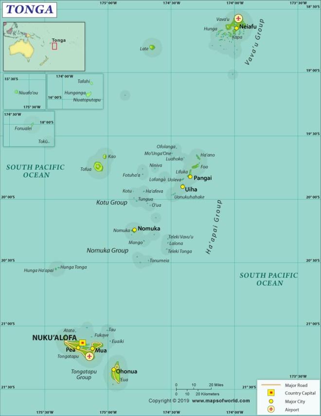 Map of Kingdom of Tonga