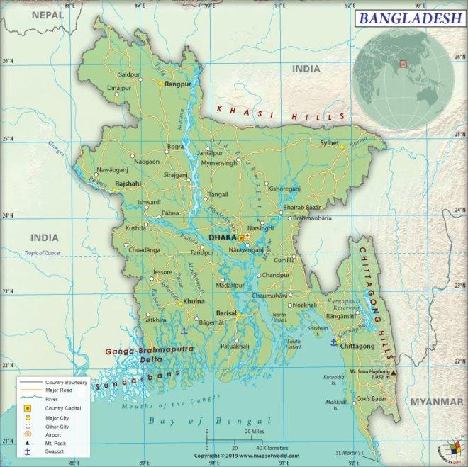 Map of People's Republic of Bangladesh