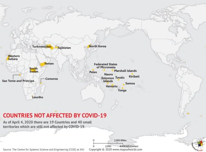 Countries not affected by coronavirus