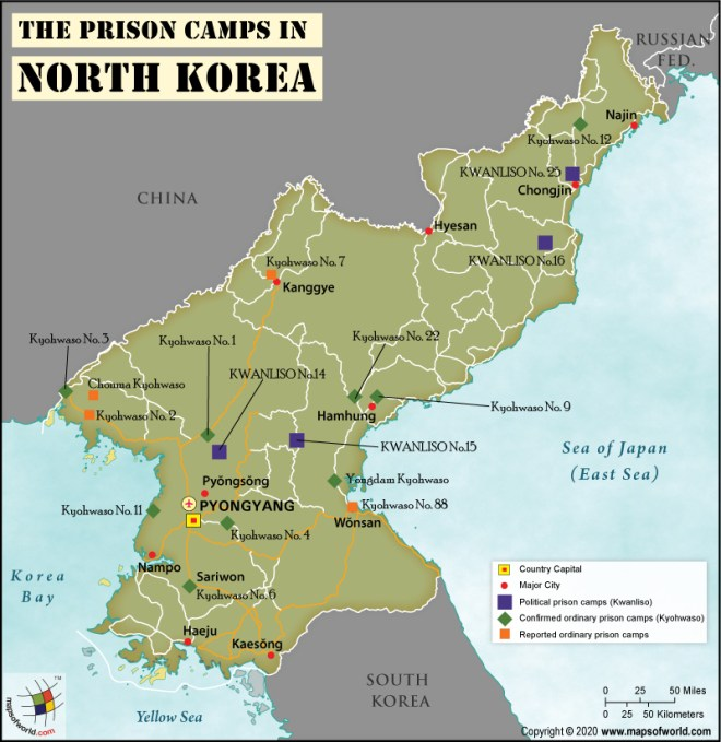 Map of North Korea Showing Location of Prison Camps