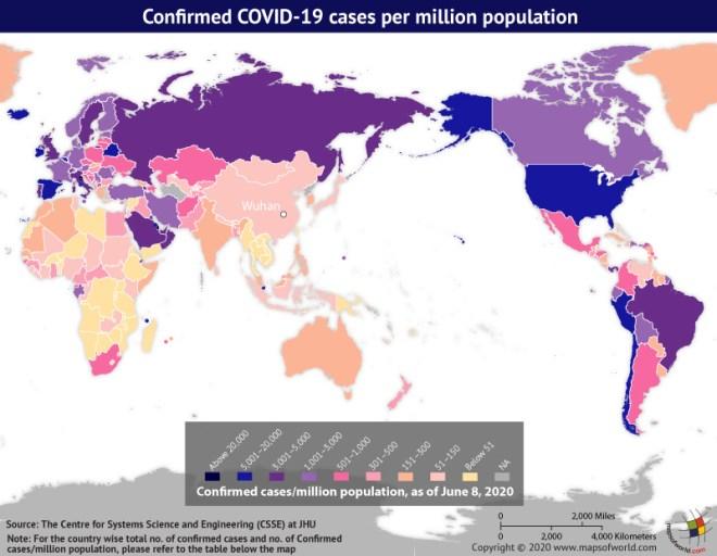 Map Highlighting the Spread of Coronavirus Around the World as per June 08, 2020