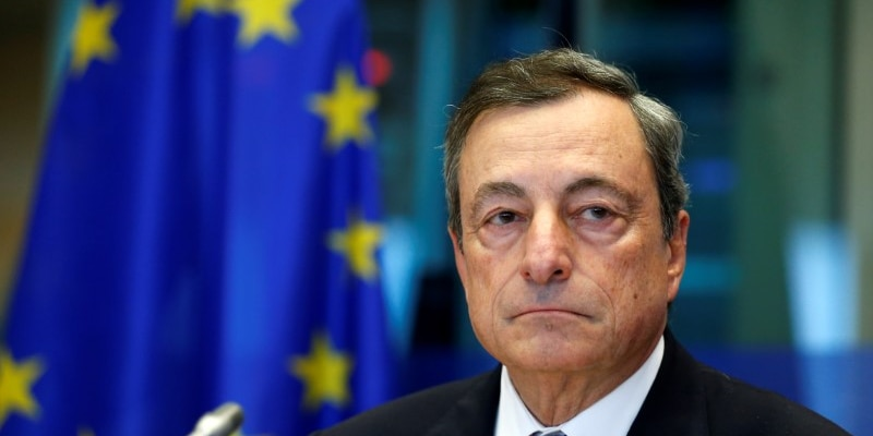 FILE PHOTO - European Central Bank (ECB) President Mario Draghi waits to address the European Parliament's Economic and Monetary Affairs Committee in Brussels, Belgium September 25, 2017. REUTERS/Francois Lenoir