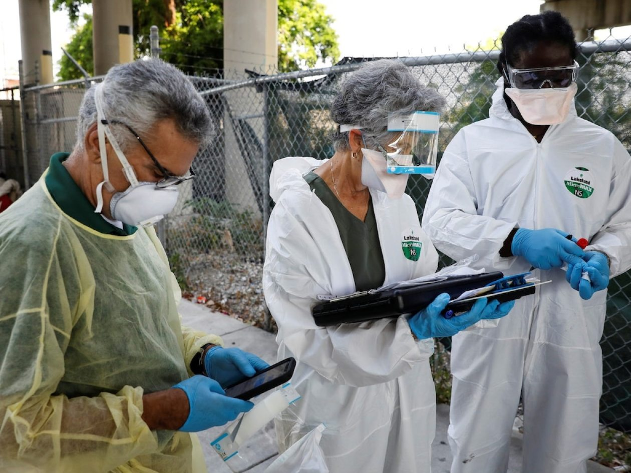 coronavirus testing homeless florida miami sample collection
