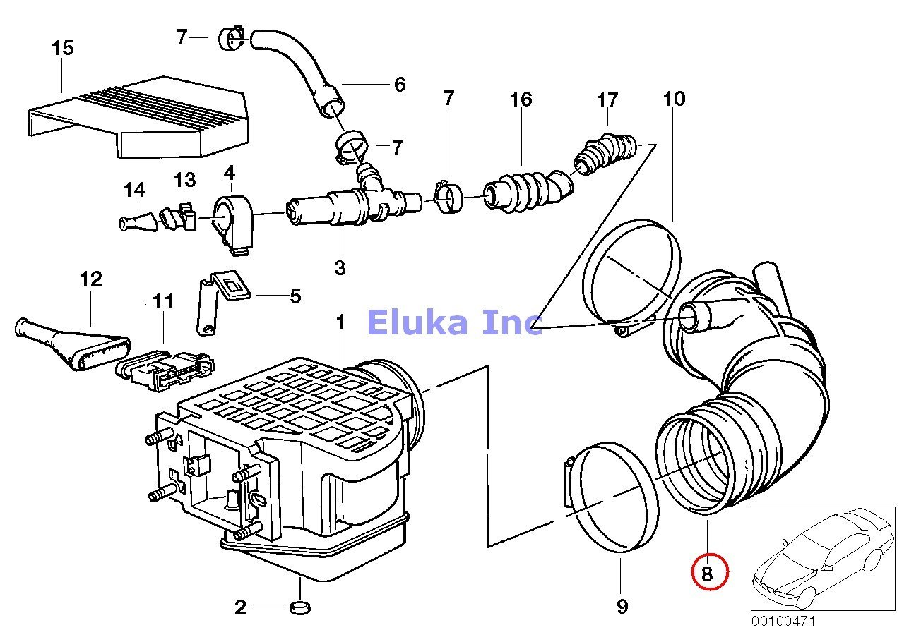 Bmw Genuine Fuel System Volume Air Flow Sensor Rubber Boot